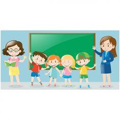 Escena de niños con pizarra y profesores Vector Gratis