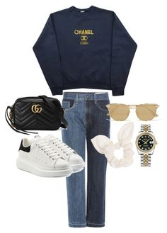 """Untitled #23655"" by florencia95 ❤ liked on Polyvore featuring rag & bone, Chanel, Rolex, Alexander McQueen, Gucci, Le Specs and Dorothy Perkins"