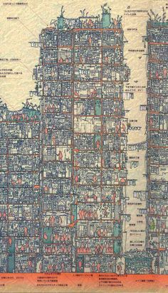 An Illustrated Cross Section of Hong Kong's Infamous Kowloon Walled City illustration Hong Kong history architecture Kowloon Walled City, Cyberpunk, Wo Ist Walter, Cross Section, Colossal Art, Kew Gardens, Wow Art, Architecture Drawings, Hong Kong Architecture