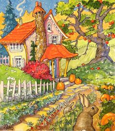 Ink Illustrations, Illustration Art, Thanksgiving Note, Storybook Cottage, I Fall, Autumn, Whimsical Art, Note Cards, Childrens Books