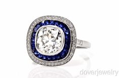 Estate 4.78ct Cushion Diamond Sapphire Platinum Engagement Ring NR