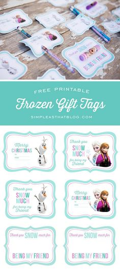 You can grab these free Printable Frozen themed gift tags and cards from Simple as that. They are perfect for giving out to class mates and school friends. These ones have a frozen themed lipgloss …