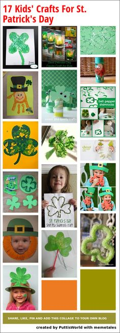 17 wonderful ideas for crafts and kid's activities for St. Patrick's Day.