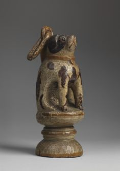 Folk Art Seated Dog Whimsey - Hand Carved and Painted Wood with Original Glass Eyes, English, c.1860