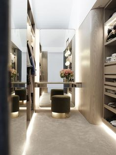 Walk-in wardrobe design inspiration, curved and illuminated joinery in a similar tone to floorboards on the ground floor Walk In Closet Design, Bedroom Closet Design, Closet Designs, Walk In Robe Designs, Bedroom Storage, Walk In Closet Size, Small Walk In Closet Ideas, Bedroom Inspo, Bedroom Designs