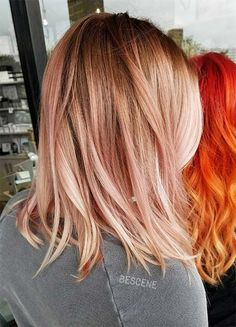 Rose Gold Hair Color Ideas. rose gold satin balayage