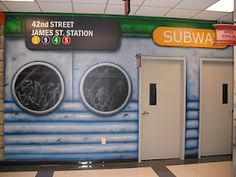 Worlds of Wow - no, this isn't a New York subway, but a fun theme at North Monroe Baptist Church in Monroe, LA! Kids Church Decor, Church Ideas, New York Theme Party, Worlds Of Wow, School Murals, Murals For Kids, New York Subway, Church Design, Church Building