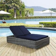 Modway Summon Outdoor Wicker Double Chaise Lounge In Sunbrella Navy Patio Chaise Lounge, Patio Chairs, Outdoor Sectional, Chaise Lounges, Fresco, Patio Glider, Outdoor Furniture, Outdoor Decor, Poolside Furniture