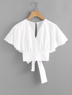 Shop Deep V-cut Split Back Bow Tie Blouse online. ROMWE offers Deep V-cut Split Back Bow Tie Blouse & more to fit your fashionable needs. Fashion Clothes, Fashion Dresses, Bow Tie Blouse, White Blouse Outfit, Crop Blouse, Mode Outfits, Mode Inspiration, Mode Style, Types Of Sleeves