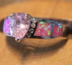 pink fire opal Cz Topaz ring Gemstone silver jewelry Sz 8 wedding design D3RE