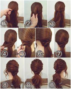 "ถูกใจ 361 คน, ความคิดเห็น 1 รายการ - nest hairsalon (@nest_hairsalon) บน Instagram: ""ポニーテールアレンジ ① 耳の高さで上下に分けます。 ② 上の部分の髪をひねり… ③ ピンで留めます。ピンは過去の投稿にありますように、ねじりに対して縦に差すようにしてみてください。 ④…"""