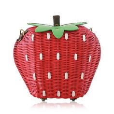Strawberry Shape Weaving Color Block Shoulder Bag Red And Green ($26) ❤ liked on Polyvore featuring bags, handbags, shoulder bags, red shoulder handbags, green purse, shoulder bag purse, color block handbag and green shoulder bag