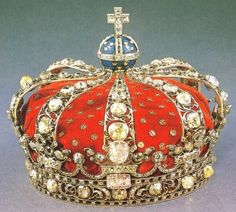 Crown of Queen Louisa Ulrika, consort of King Adolf Frederick, Sweden (1751; diamonds, enamel, silver, velvet). Crown of the queen consorts of Sweden.