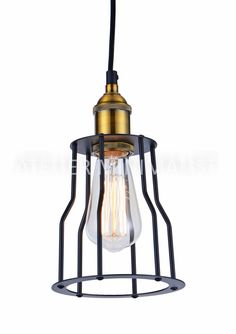 Industrial Cage Edison Filament Pendant Color: Black Material: Matte Metal Dimensions: Diameter x Height Bulb not included Made In: Canada Shipped From: Canada Lead Time: 3 - 4 Days Cage, Home Furnishing Accessories, Matte Gold, Modern Industrial, Pendant Lamp, Black Gold, Furniture Design, Bulb, Ceiling Lights