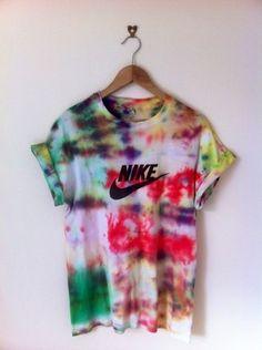 nike trippy tie dye colorful tie dye shirt 90s style soft grunge t-shirt printed…