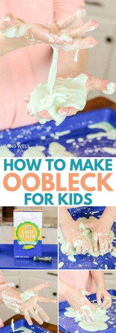 Have you heard of oobleck? The simple mixture is just cornstarch and water, but kids (and adults!) are fascinated by this fun science experiment. It's also a great sensory activity for kids with autism, sensory issues, etc. - Education and lifestyle Creative Activities For Kids, Crafts For Kids To Make, Science For Kids, Projects For Kids, Fun Activities, Summer Science, Kids Crafts, Creative Kids, Preschool Science
