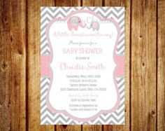 Girl Elephant Baby Shower Invitation. Pink by BlueBunnyPrintables