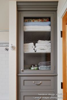 Cool Linen Closet look Portland Craftsman Bathroom Innovative Designs with built-in cabinet cabinet
