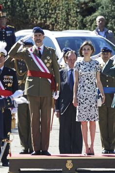 MyRoyals:  King Felipe and Queen Letizia attended the Royal Guards' Flag Ceremony at the El Ray Military Barracks, El Pardo, May 22, 2015