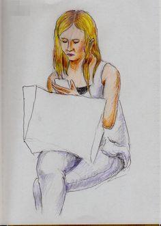 白いタンクトップのお姉さん(通勤電車でスケッチ) It is a sketch of a woman wearing a white tank top.  I drew in a commuter train.