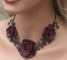 Flower leather necklace choker burgundy roses by Leatherblossoms
