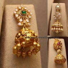 Antique Pachi and Diamond Jhumkas - Jewellery Designs