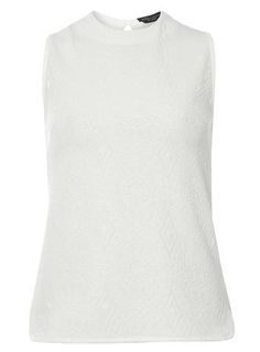 White Textured Shell Top