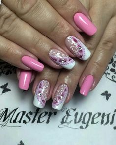 Pale Pink mixed with Burgundy and White Nail Designs