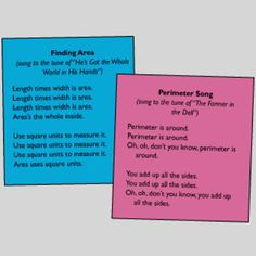 Discover ideas about math teacher. area and perimeter songs Math Resources, Math Activities, Math Binder, Math Songs, Teaching Math, Teaching Ideas, Math Teacher, Area And Perimeter, Math Anchor Charts