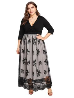 9c5f6339832 Women s Plus Size Sequin 3 4 Sleeves Evening Gown Party Long Maxi Dress  Evening Gowns
