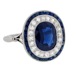 Art Deco Sapphire & Diamond Platinum Ring    circa 1920's