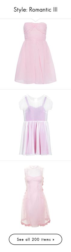 """""""Style: Romantic III"""" by jesuisunlapin ❤ liked on Polyvore featuring dresses, vestidos, robes, cocktail mini dress, pale pink dress, flared mini skirt, pink bustier, ruched dress, tops and pink"""