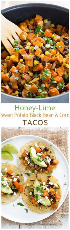 Honey Lime Sweet Potato Black Bean and Corn Tacos - they're so healthy and SO delicious!!