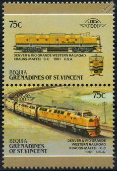 1961 DRGW Krauss-Maffei C-C Diesel Denver & Rio Grande Train Stamps / LOCO 100 | eBay