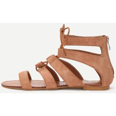 Brown Peep Toe Caged Cut Out Gladiator Sandals featuring polyvore women's fashion shoes sandals flats brown strappy platform sandals roman sandals strappy gladiator sandals brown flats low heel sandals