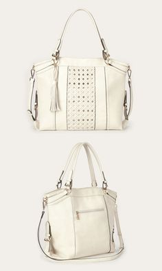 Roomy ivory tote bag with gold-toned hardware, a woven panel, removable tassel and removable crossbody strap. I love the brown version. Big Bags, Cute Bags, Beauty And Fashion, Summer Bags, Purses And Handbags, Fashion Accessories, Crossbody Bag, Shoulder Bag, Shoe Bag