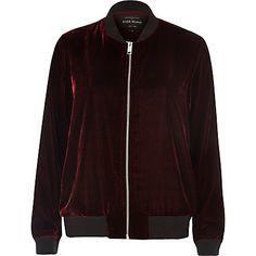 Dark red Velvet bomber jacket £40.00