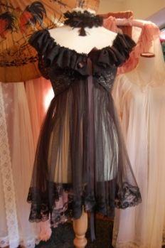 Vintage Pin Up  Sheer Boudoir Babydoll Dress Nightie Pin Up Vintage Hollywood Glamour 50's 60's