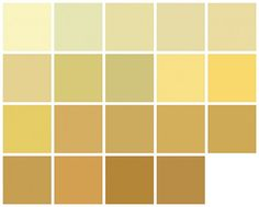 Farrow & Ball Paint: Yellow and Orange Colors    First row, left to right: Lancaster Yellow, Pale Hound, Hound Lemon, Farrow's Cream, Dayroom Yellow.    Second row: Dorset Cream, Gervase Yellow, Hay, Yellow Ground, Babouche.    Third row: Citron, Ciara Yellow, Straw, Print Room Yellow, Sudbury Yellow.    Fourth row: Octagon Yellow, Orangery, India Yellow, Cane.
