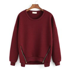 Round Neck Zipper Red Sweatshirt (£10) ❤ liked on Polyvore featuring tops, hoodies, sweatshirts, jumpers, sweaters, red, zip pullover sweatshirt, zip pullover, red top and cotton sweat shirts
