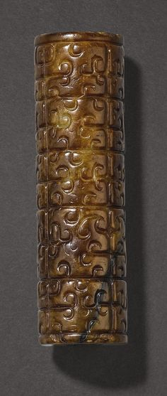 A BROWN JADE TUBULAR BEAD  PROBABLY WARRING STATES PERIOD China Art, China China, Warring States Period, Antique Jade, Dragon Design, Auction, Objects, Carving, White Jade