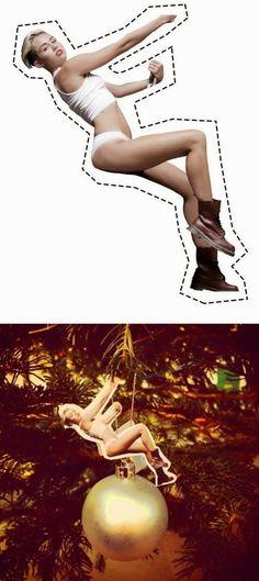 Decoração de Natal: Enfeite natalino Miley Cyrus, wrecking ball.