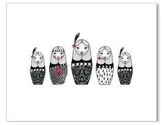 NZ Nesting Dolls by Emma Louise Butler New Zealand Art, Maori Art, Kiwiana, Cool Store, Wall Decals, Fine Art Prints, Sewing Patterns, Butler, Dolls