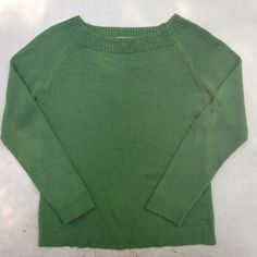 """Mjo Green Raglan Sleeve Lightweight Knit Sweater Cute sweater for summer nights and beyond! Mjo brand from a trendy Korean department store. Lightweight knit, feels like acrylic so soft and comfy (non-itchy). Left arm and neckline has some mending, not noticeable when worn, in great condition. 16"""" across chest, 21.5"""" length. Awesome color for your wardrobe! Mjo Sweaters Crew & Scoop Necks"""