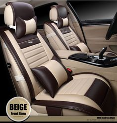 99.90$  Watch now - http://ali2cz.worldwells.pw/go.php?t=32483087452 - brand leather car cushion for mitsubishi pajero lancer outlander galant front and rear complete car seat cover beige/black 99.90$