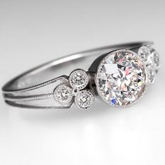 Bezel Set Old Euro Diamond Engagement Ring Platinum
