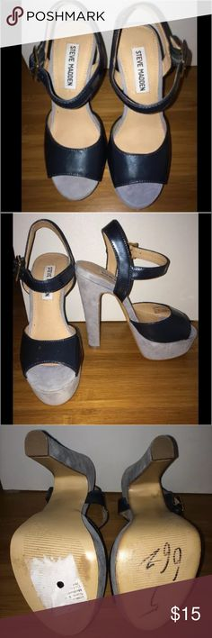 """NWOB Steve Madden Jillyy Shoes Size 5 (M), Suede and Patent, Peep Toe, 5.5"""" Heel Steve Madden Shoes Heels"""