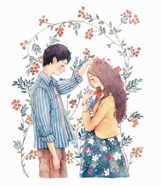 Image about love in Art Illustration by sklorths Art And Illustration, Illustration Mignonne, Illustrations And Posters, Art Anime, Anime Kunst, Couple Drawings, Art Drawings, Art Mignon, Cute Couple Art