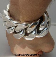 30 mm solid Heavy silver Bracelet / pulsera gorda de plata maciza.