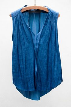 #happyskirtt.com #style inspiration: Raquel Allegra  Blue Liquid Satin Top
